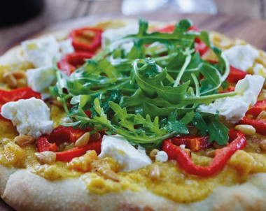 Pumpkin, Feta And Rocket Pizza