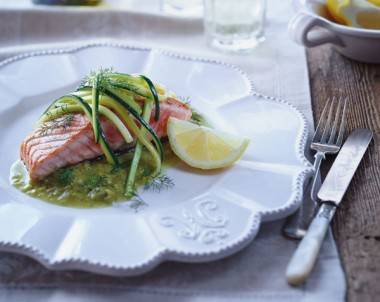 Seared Salmon With Sauteed Zucchini And Asparagus Sauce