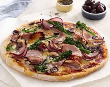 Pancetta, Balsamic Onion and Broccolini Pizza