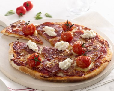 Spicy Salami and Ricotta Pizza