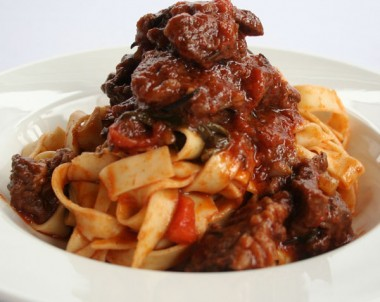 Tagliatelle pasta with rich meat ragu