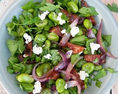 Broad Bean and Chorizo Salad