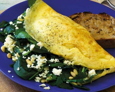 Spinach and Feta Omelette with Pine Nuts and Parsley