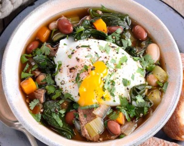 Beef, Mixed Bean and Spinach Soup with Poached Egg
