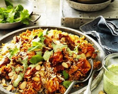 Chicken Biryani with Creamy Coriander and Mint Sauce