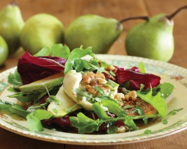 Grilled Pear Salad with Fresh Curd and Walnuts