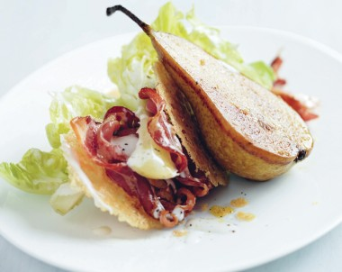Roasted Pear and Pancetta Salad with Parmesan Wafers