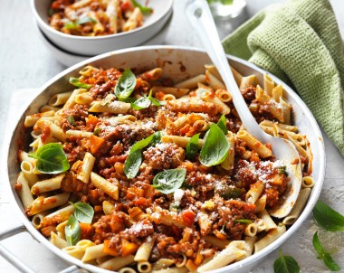 Penne with healthy bolognese sauce recipe