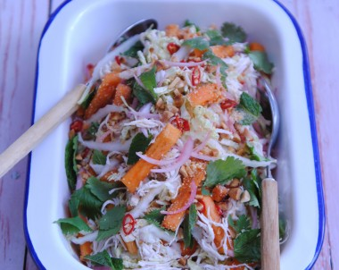 Asian-style Poached Chicken Salad with Sweet Persimmon and Somtan Dressing