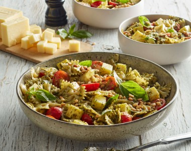 Pesto Pasta Salad Recipe with mozzarella and tomatoes