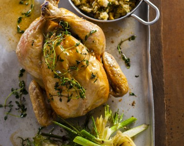 Roast Chicken with Pear Lemon And Fennel Seed Stuffing Recipe