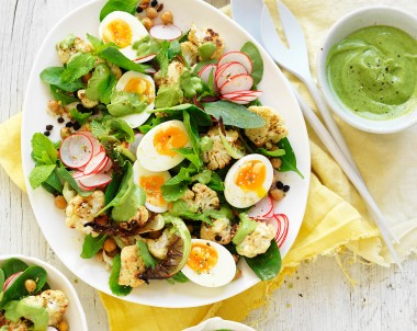 Roasted Cauliflower Salad recipe with Avocado Dressing