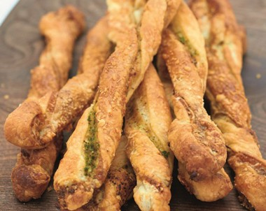 Pesto and Parmesan Straws