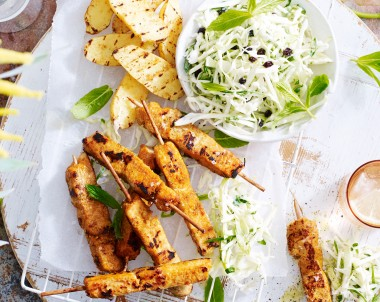 Satay and Coconut Chicken Breast Skewers with Green Apple Coleslaw and BBQ Kipfler Potatoes