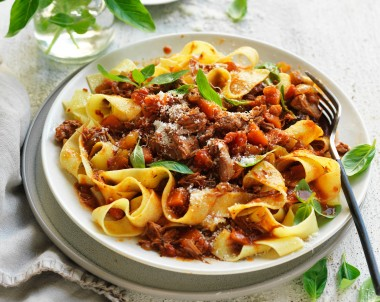 Lamb ragu slow cooker recipe made with lamb shoulder
