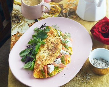 Smoked trout and Persian feta omelette