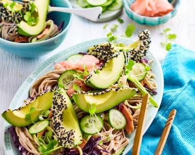 Soba Noodle, smoked salmon and avocado salad with sesame dressing
