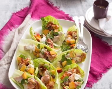 Turkey, Nectarine and Walnut Salad in Lettuce Cups