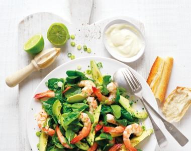 Avocado, Baby Spinach and Prawn Salad