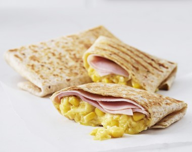 Creamed Corn and Ham Toasted Wraps