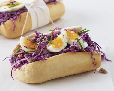 Red Cabbage Slaw with Soft-Boiled Egg on a Baguette