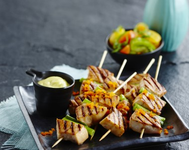 Teriyaki Swordfish Skewers with Heritage Tomato Salad