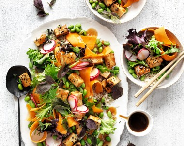 High-protein vegan teriyaki tofu salad recipe with fresh herbs