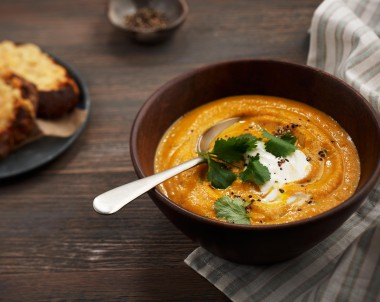 Creamy Carrot and Coriander Soup with Parmesan Toasts