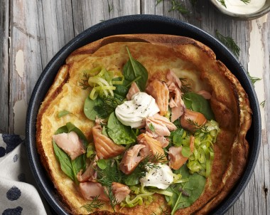 Dutch Pancakes with Smoked Trout, Leek and Sour Cream