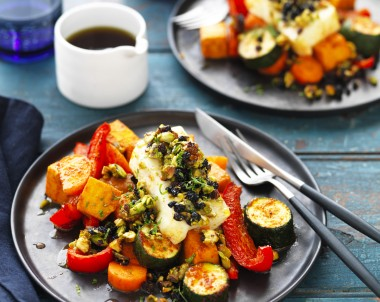 Baked Haloumi with Spiced Vegetable Bake