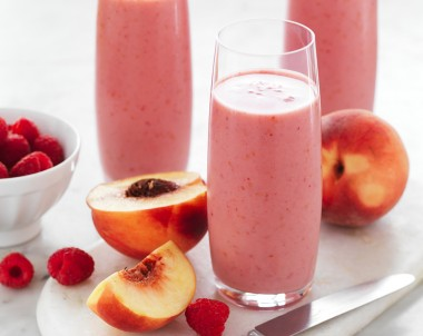 Almond Milk Peach and Raspberry Smoothie recipe