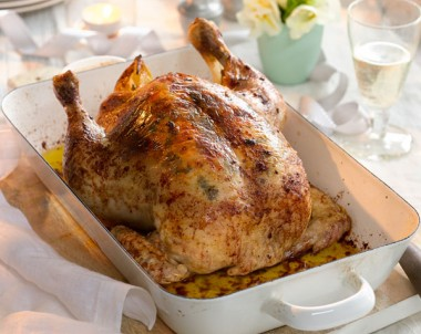 Roast Chicken with Shallots, Oregano and Lemon Butter