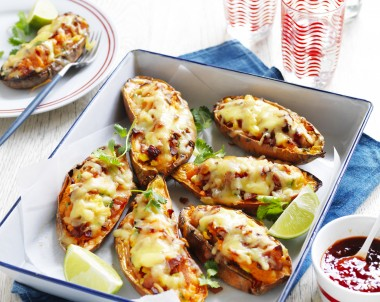 Cheesy Bacon Sweet Potato Skins recipe