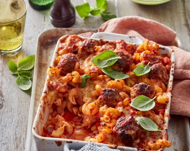 This Italian meatball pasta bake is a weeknight dinner winner. It features the best meatball recipe.