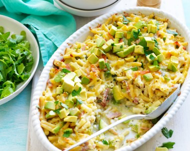 Bacon Mac and Cheese recipe with avocado