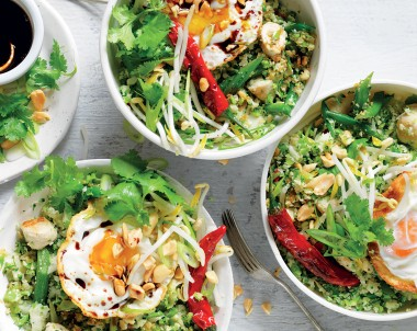 Broccolini and cauliflower rice and chicken bowls