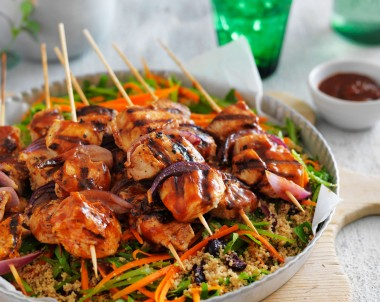 Char-grilled chicken skewers with couscous salad recipe