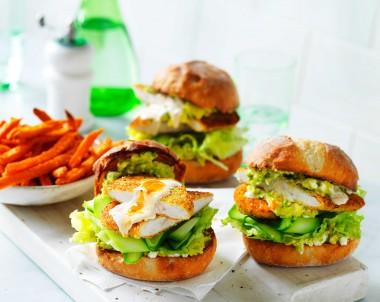 Healthier Chicken Schnitzel Burgers with Avo mash