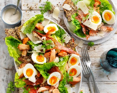 Caesar Salad with Hot Smoked Salmon