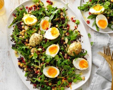Rice Egg and pomegranate Christmas salad