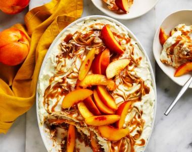 Nectarine and salted caramel tiramisu recipe