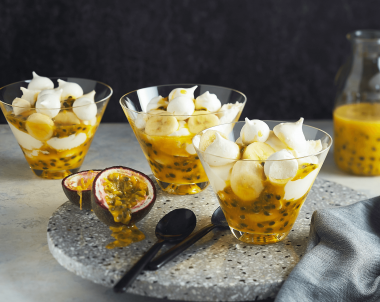 Eton Mess with Tangy Passionfruit Sauce