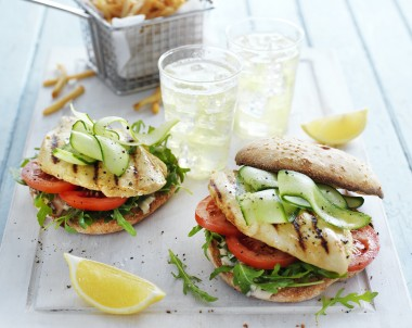 Chicken, Rocket and Hummus Burgers
