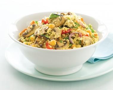 Roasted vegetable and mushroom couscous salad