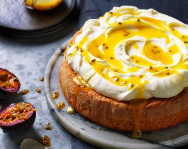 Sponge cake with cream and passionfruit curd