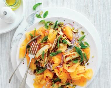 Rockmelon 'Carpaccio' and Haloumi Salad