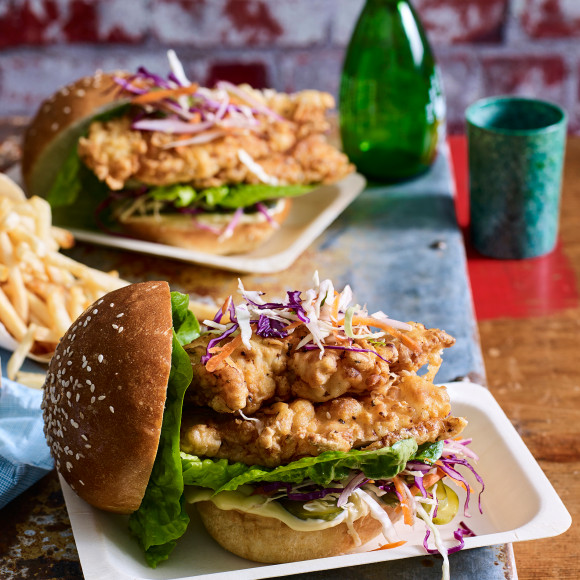 Buttermilk Fried Chicken Burger Recipe for Game Day