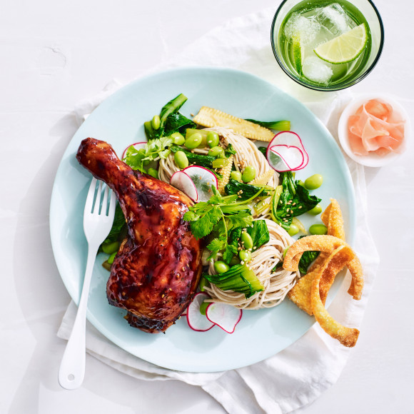 Teriyaki Roast Chicken with Soba Noodles and Asian Greens ...