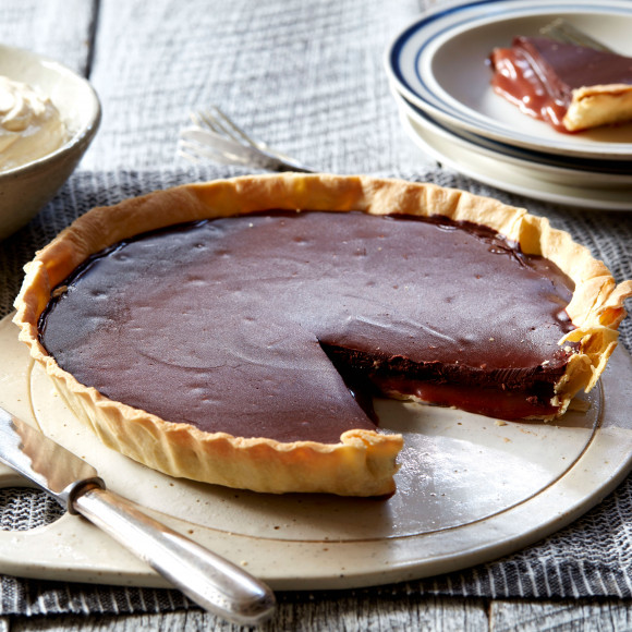 Chocolate and caramel tart