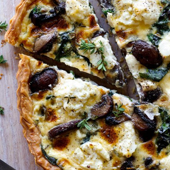 Spinach, ricotta and mushroom quiche